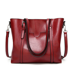2019 High Quality Oil Wax PU Leather Large Capacity Tote Bag Women Female Handbags Shoulder Bags RED 32*12*29cm