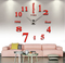 Large 3D DIY Mirror Clock Wall Sticker Silent Quartz watch  Number Clock Office Living Room Decor Red Large