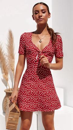 2019 new fashion women's polka dot print V-neck short-sleeved A-line skirt dress red s