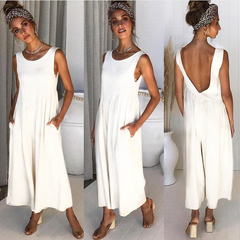 Women Sleeveless Vest Sexy Halter Jumpsuit Chiffon Wide Leg Trousers Romper Ladies Coverall Playsuit White S