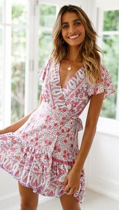 Womens Sexy V-Neck Short Sleeve Boho Dress Floral Print Ruffle Button Holiday Party Beach Mini Dress Light Pink xl