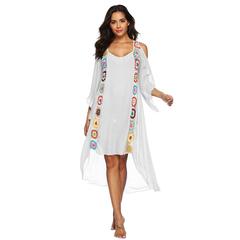 Hollow Out Hand Hooks Large Size  Long Dress Women Irregular Beach Holiday Sunscreen Bikini Blouse White l