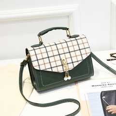 2019 New Plaid Handbag Shoulder Bag Fashion Flap Small Crossbody Bags Women Messenger Bags Leather Green One Size