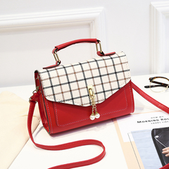 2019 New Plaid Handbag Shoulder Bag Fashion Flap Small Crossbody Bags Women Messenger Bags Leather Red One Size