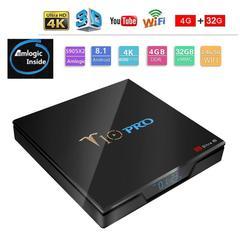 T10 Pro Android 8.1 Smart TV Box 4G 32G S905X2 2.4G + 5G WiFi BT4.1 Set top Box UHD 4K Media Player