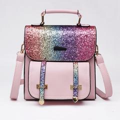 2019 Fashion women's Backpack Sequins Girls Glitter Bling School Travel Rucksack Female shoulder bag Pink One Size