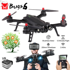 Bugs 6 B6 Pro Racing UAV Brushless Motor RC Drone FPV 5.8G 720P HD Camera Quadcopter Helicopter Dron with 5.8G camera+LCD screen display with 3 x batteries