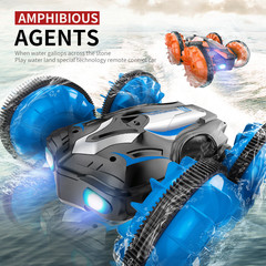C10 RC Car Remote Control Water Land Amphibious Car 3D Stunt Drift Crawler Electric Toys Kid Gift Blue Amphibious