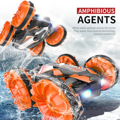 C10 RC Car Remote Control Water Land Amphibious Car 3D Stunt Drift Crawler Electric Toys Kid Gift Orange Amphibious