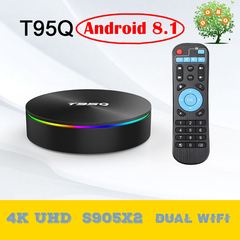 T95Q Android 8.1 Smart TV Box Amlogic S905X2 4K UHD 4G 32G Set top Box 5G Dual Wifi Media Player