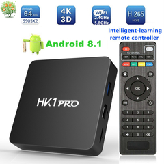 HK1 PRO Android 8.1 Smart TV Box 4G 32G Amlogic S905X2 Dual Wifi Set top Box 4K UHD 3D Media Player