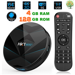 HK1 Mini+ Plus Android 9.0 Smart TV Box 2.4G+5G WiFi 4K HD Set Top Box RK3318 Quad-Core 128G BT4.0