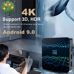 Android 9.0 Smart TV Box RK3318 4G 64G Network Set top Box HD 4K 3D WiFi BT4. Media Player SUPER V98