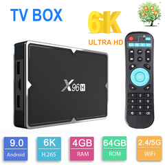X96H Android 9.0 Smart TV Box H603 6K 4K H.265 2.4G 5G WIFI BT4.1 Set top Box 4G 64G IP Media Player