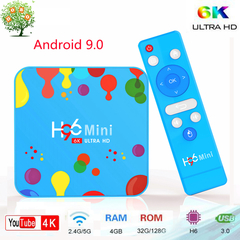 H96 Mini Android 9.0 Smart TV Box Allwinner H6 4G 128G 6K H.265 3D Set top Box 5G WiFi Media Player