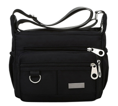 Women Fashion Solid Color Zipper Waterproof Nylon Shoulder Bag Handbags,Shoulder Bag black one size