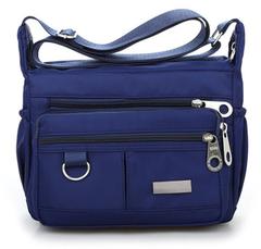 Women Fashion Solid Color Zipper Waterproof Nylon Shoulder Bag Handbags,Shoulder Bag dark blue one size