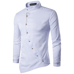 Fashion Men's Oblique Button Embroidered Casual Irregular Shirt Long Sleeved Shirt White S