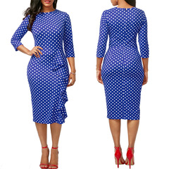 New vintage Polka Dot Round-Neck knee-length Casual Work Pencil Bodycon Dress Blue S