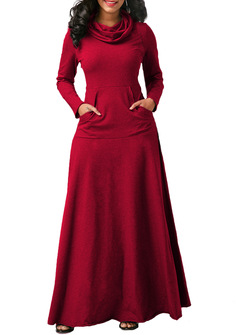 Women long maxi dress long sleeve dress with pocket fashion casual dress autumn winter red s