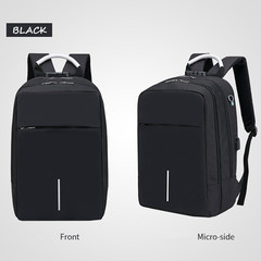 Large Capacity Laptop Backpack USB Charging Anti Theft Men Travel Backpack Waterproof School Bag BLACK 28*15*42cm
