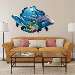 Kids Room Decor Wall Sticker 3D Dolphin Fish Boy Gift Wall Decals Nursery Mural as pic one size