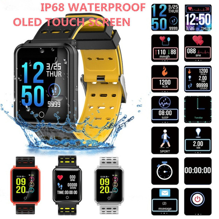 IP68 Waterproof Smart Watch Blood Pressure Heart Rate Monitor Calorie Tracker Android IOS OLED phone black&orange one size