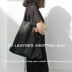 PU Leather Bag Side Shoulder Bag Simply Style Bag Women Fashion Shopping Bag Large Capacity Bag black W 30 x T 35 x Side Width 11.5