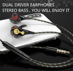 Dual Driver Earphones Stereo Bass Sport Running Headset HIFI Monitor Earbuds red