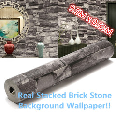 Realistic Real Stacked Brick Stone Vinyl Background Wallpaper 53cm X 10m as pic one size