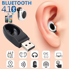 Mini Wireless Bluetooth Earphones In Ear Earpiece Invisible Headset USB Charger  Earphone black&silver