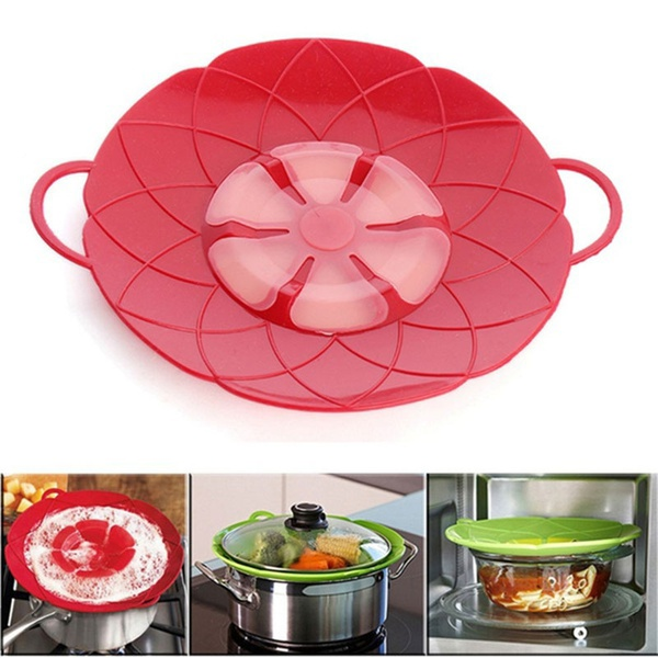 Cooking Tools Flower Silicone Lid Spill Stopper Silicone Cover Lid For Pan red 26CM(Dia) 29CM(With handle)
