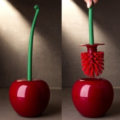 Creative Lovely Cherry Shape Lavatory Brush Toilet Brush & Holder Set red one size