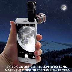 The Phone Lens Is 8/12 Times Long and Telephoto Lenses Are 8/12 Times Long Camera Lens 12X white