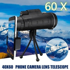 HD Ajustable Waterproof 40x60 Focus Zoom Monocular Phone Telescope Camera Lens Telescope Phone Lens black