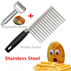 Fruit Vegetable Peeler & Potato Fry Cutter Peeler Cutter Sharp Stainless Steel Wave Knife Chopper as pic one size