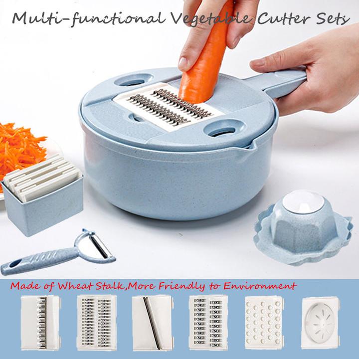 Multi-functional  Vegetable Cutter Sets Food Container Shredders Slicers sets Vegetables cutter blue one size
