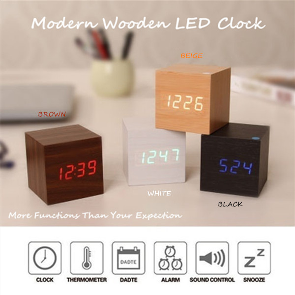 Led Electronic Wooden Alarm Clock Student Voice Control Luminous Desktop Clock with Thermometer