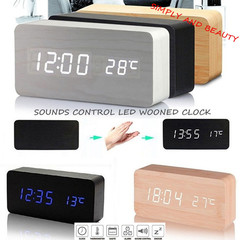 Sounds Control LED Wooden Alarm Clock Time Temperature Week Calendar Display for Home Office