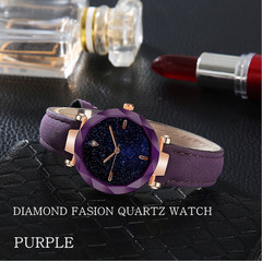 Women Fashion Watches Leather Starry Sky Series Quartz Watch Ladies Waterproof Casual Wristwatches red
