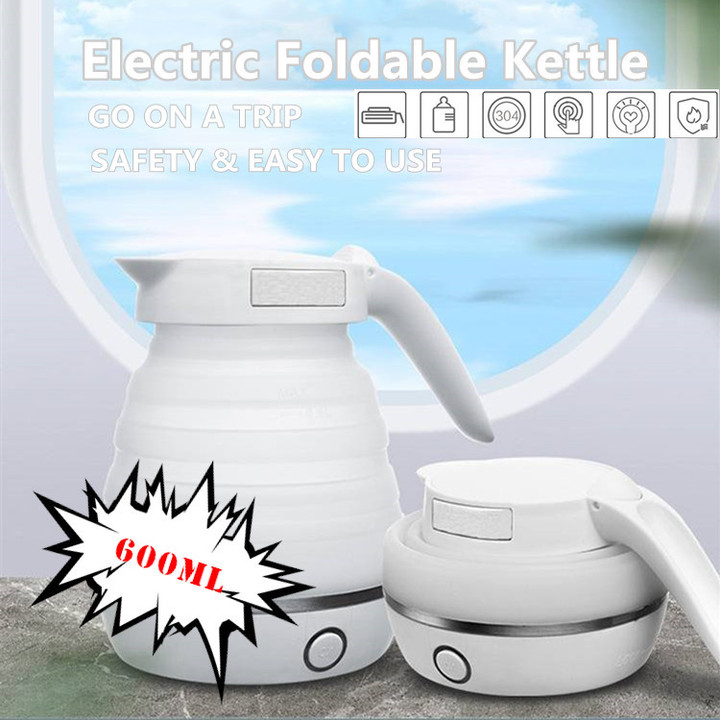 Large Capacity Electric Foldable Kettle Collapsible Silicone Water Boiler Travel Bubble Teapot as pic one size