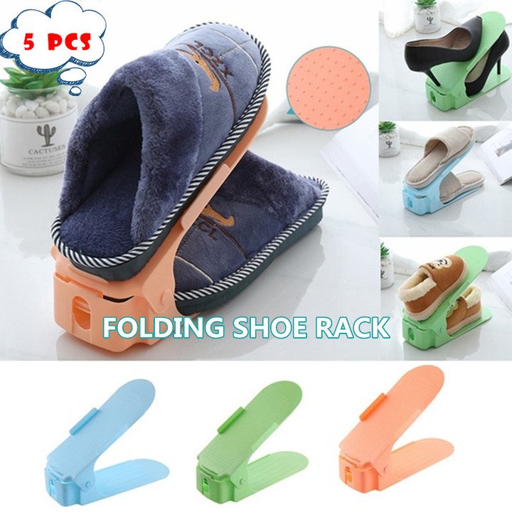 5pcs Stereoscopic folding shoe rack Creative shoe shelf Organizer Space Saving Plastic Shoes Rack blue