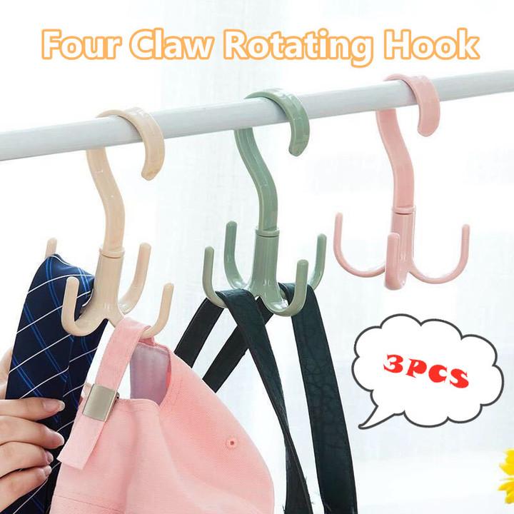 A Set of 3 PCS Four-claw Creative Rotating Hook Tie Bag Scarf Hook Closet Storage Rack Holder Hanger radom