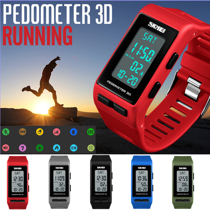 New Pedometer 3D  Step Calories Count Data Storage Wrist Watch Sport Casual Business Dual Display black
