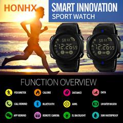 T90 Pedometer Step Calories Count Data Storage Wrist Watch Sport Casual Business Calendar Alarm blue
