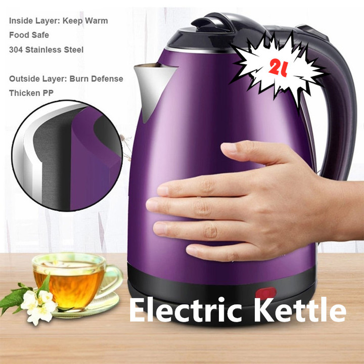 High Quality Colorful 220V 1500W 2.0L Stainless Steel Electric Kettle as pic one size