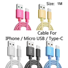 1M  Charger Cable Fast Charging Data Sync USB Cable for All the IPhone / Micro USB / Type-C Device White