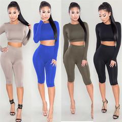 Sexy 2 Piece Set Women Skinny Pants Crop Top Set Sportsuits Jumpsuit Top Fitness Short Leggings Suit black S