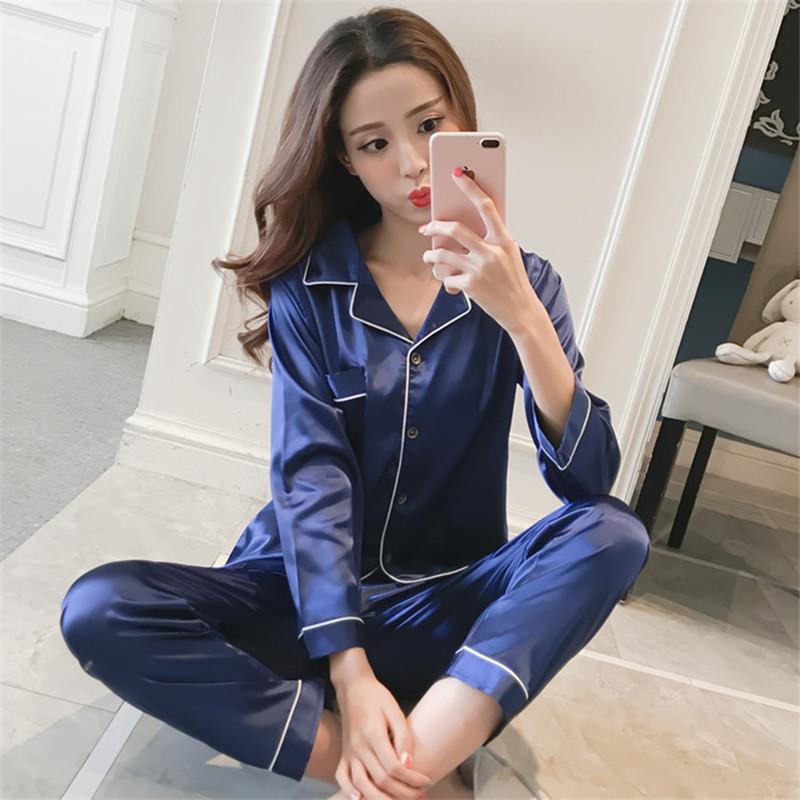 1aab874d6e75 Spring Summer Sleepwear Women Pajamas Sets Long Sleeve Pyjama Pants ...