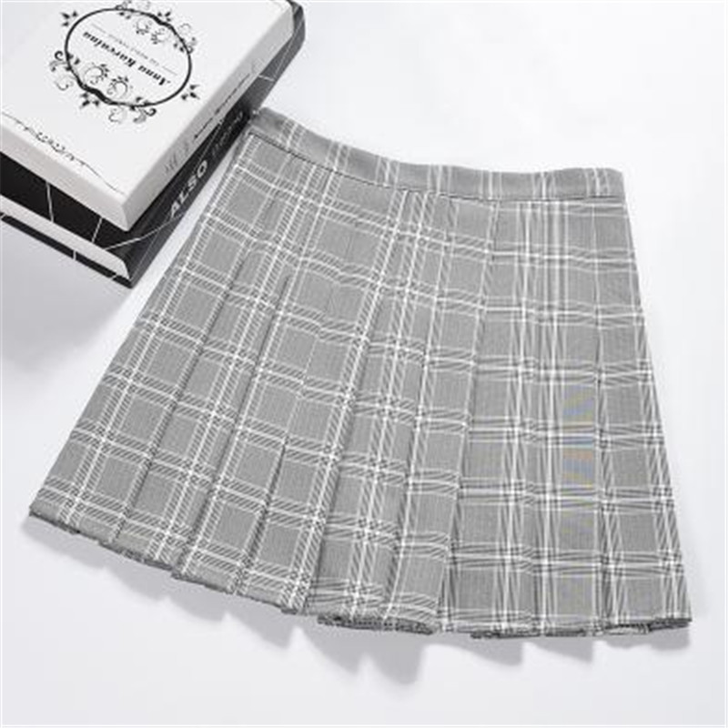 f3fe74e50 Women Clothes 2019 new college style high waist plaid pleated skirt ...